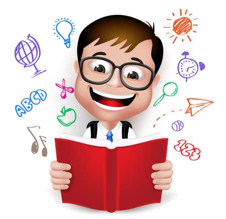 3 D のリアルなスマート子供学校少年制服とバックパック ホワイト バック グラウンドで分離された創造的なアイデアの本を読んで身に着けています