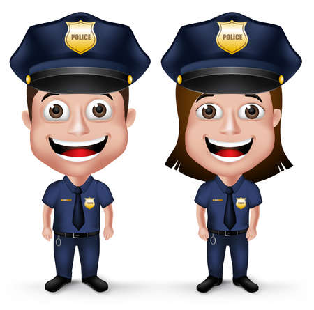 enforcement: 3D Realistic Friendly Police Characters Policeman and Policewoman in Uniform for Security Isolated in White Background.  Illustration