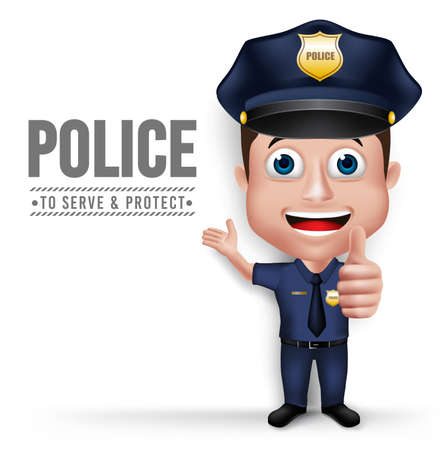 3D Realistic Friendly Police Man Character Policeman in Uniform for Security with White Space for Text Isolated in White Background.  Vettoriali