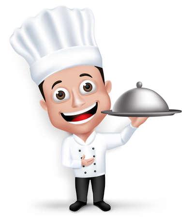 リアルな 3 D 若いフレンドリーな専門のシェフ料理の文字ホワイト バック グラウンドで分離されたレストラン制服幸せ料理フード メニュー。