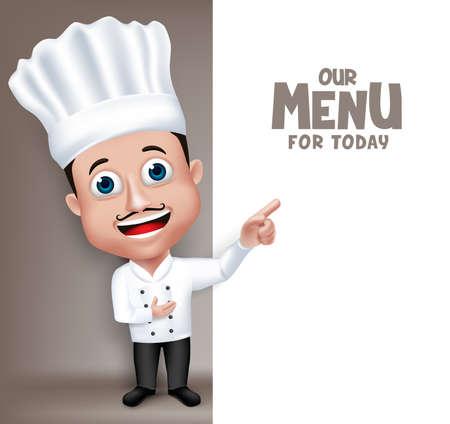 chef: Realista Carácter 3D cómoda joven profesional del cocinero del cocinero en el restaurante Uniforme feliz Presentación Menú para hoy el espacio blanco de mensaje. Vectores