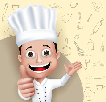 Realistic 3D Young Friendly Professional Chef Cook Character in Restaurant Uniform Happy Serving Food Menu in Cooking Pattern Background.