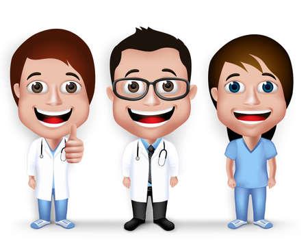 medico caricatura: Colección Conjunto de joven realista 3D friendly Profesional Médico y Enfermera de Carácter Médico Aislado en el fondo blanco.