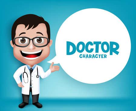 Realistische 3D Junge freundliche Facharzt Medical Character Apropos Rezept in Patienten. Leerraum für Nachricht.