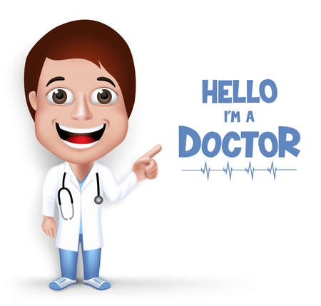 medica: Realistic 3D Young Friendly Female Professional Doctor Medical Character Speaking Prescription in Patient Isolated in White Background.