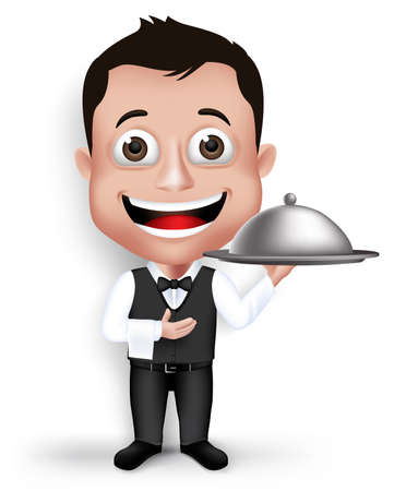 formal attire: Realistic 3D Young Friendly Professional Waiter in Formal Attire Happy Serving Food in Restaurant Isolated in White Background.