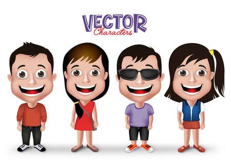nene y nena: Conjunto de realistas en 3D de Niños y Niñas Niños, Adultos Caracteres feliz sonriente en vestido de la manera ocasional aislada en el fondo blanco.