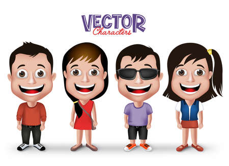 cartoon school girl: Set of Realistic 3D Boys and Girls Young Adult Kids Characters Happy Smiling in Casual Dress Fashion Isolated in White Background.