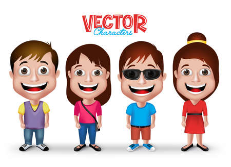 casual dress: Set of Realistic 3D Boys and Girls Young Adult Kids Characters Happy Smiling in Casual Dress Fashion Isolated in White Background.