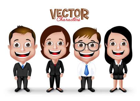 personnage: Jeu de 3D r�aliste Professional homme et femme Personnage sourire heureux dans Tenue vestimentaire formelle pour les affaires isol� dans un fond blanc.