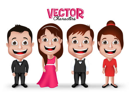 formal party: Set of Realistic 3D Groom and Party Characters Happy Smiling in Formal Dress Attire for Occasions Isolated in White Background.  Illustration