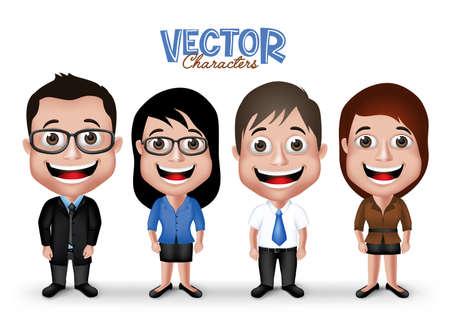 mujer trabajadora: Conjunto de realista 3D Hombre profesional y de la mujer Caracteres feliz sonriente en traje del vestido formal de negocios aislado en el fondo blanco. Vectores