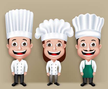chef caricatura: Conjunto de realista 3D Chef Hombre y Mujer Personajes feliz sonriente en Culinary Vestido Vestimenta para cocinar.