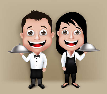 attire: Set of Realistic 3D Waiter and Waitress Characters Happy Smiling with Tie Dress Attire Holding Tray.