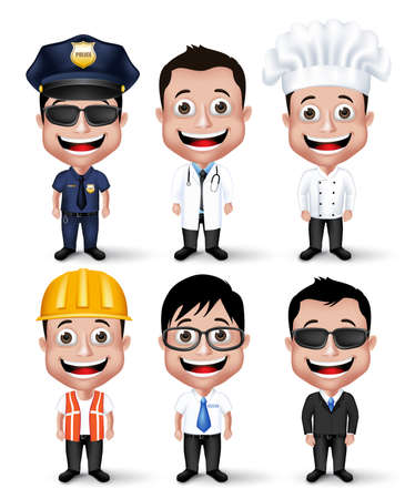 formal attire: Set of Realistic 3D Professional Occupation Man Characters Happy Smiling Isolated in White Background.