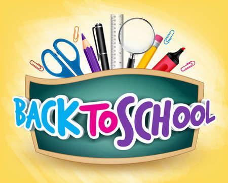 educacion: 3D realista Volver a Diseño Cartel Título escuela en una pizarra con los Artículos escolares en un fondo. Ilustración vectorial editable