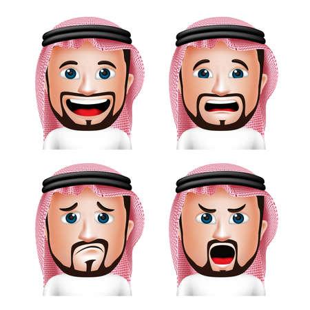Conjunto de 3D hombre realista Arabia árabe Cabeza con diferentes expresiones faciales de desgaste Thobe Avatar aislada en el fondo blanco. Ilustración vectorial editable