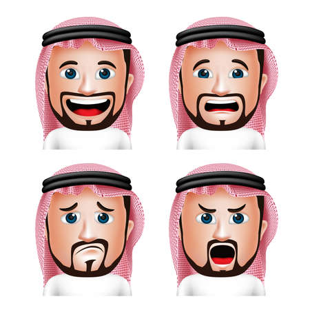 saudi: Set of 3D Realistic Saudi Arab Man Head with Different Facial Expressions Wearing Thobe Avatar Isolated in White Background. Editable Vector Illustration