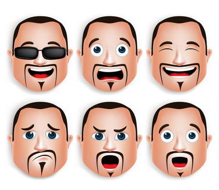 Set of 3D Realistic Big Fat Man Head with Different Facial Expressions for Avatar. Isolated in White Background Editable Vector Illustration
