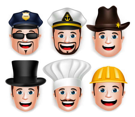 policia caricatura: Conjunto de 3D hombre realista Profesional Cabeza con diferente Sombrero Ocupacional para Avatar. Aislado en el fondo blanco Ilustración vectorial editable