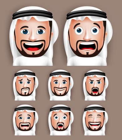 hombre arabe: Conjunto de 3D hombre realista Arabia �rabe Cabeza con diferentes expresiones faciales de desgaste Thobe Avatar. Ilustraci�n vectorial editable Vectores