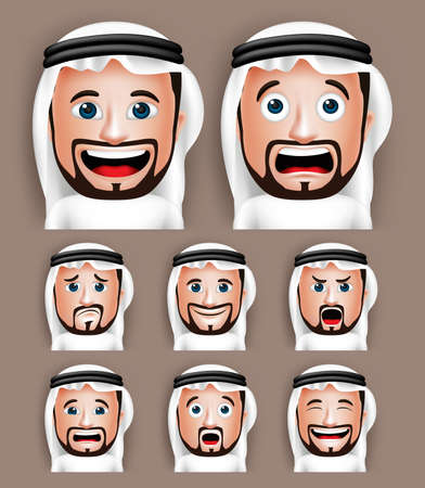 Reeks 3D Realistische Saoedi-Arabische man Hoofd met verschillende gezichtsuitdrukkingen dragen Thobe Avatar. Bewerkbare vector illustratie