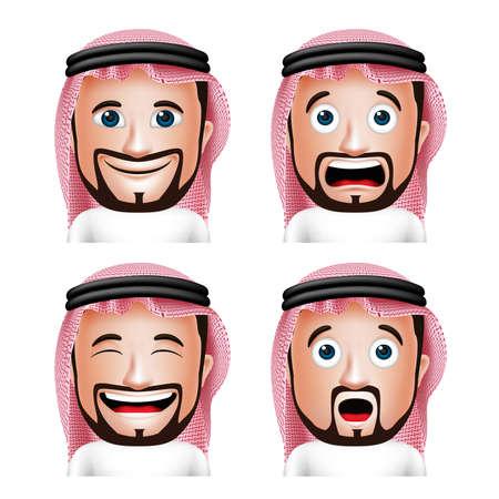 Reeks 3D Realistische Saoedi-Arabische man Hoofd met verschillende gezichtsuitdrukkingen dragen Thobe Avatar geïsoleerd in witte achtergrond. Bewerkbare vector illustratie