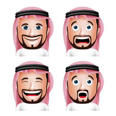 arab man: Set of 3D Realistic Saudi Arab Man Head with Different Facial Expressions Wearing Thobe Avatar Isolated in White Background. Editable Vector Illustration