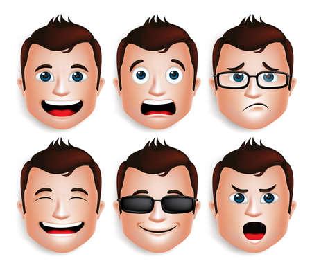 Reeks 3D Realistische Knappe Mens Hoofd met verschillende gezichtsuitdrukkingen voor Avatar. Geïsoleerd in witte achtergrond bewerkbare vectorillustratie