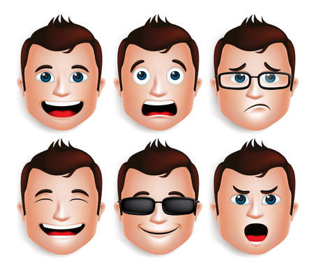 Set of 3D Realistic Handsome Man Head with Different Facial Expressions for Avatar. Isolated in White Background Editable Vector Illustration Çizim