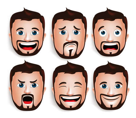 Set of 3D Realistic Handsome Man Head with Different Facial Expressions With Beard Avatar. Isolated in White Background Editable Vector Illustration Vettoriali