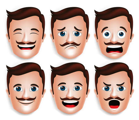 Set of 3D Realistic Handsome Man Head with Different Facial Expressions With Mustache for Avatar. Isolated in White Background Editable Vector Illustration