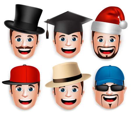 graduacion caricatura: Conjunto de 3D Jefe realista de la cara de hombre colecciones de sombreros aislados en fondo blanco. Ilustraci�n vectorial