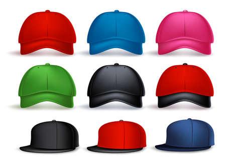 남자와 여자의 다양 한 색상 흰색 배경에서 격리에 대 한 3D 현실적인 야구 모자의 집합입니다. 벡터 일러스트 레이션 일러스트