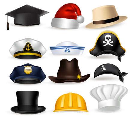 hut: Set von 3D Realistic Professionelle Hut und Kappe für Polizei, Koch, Piraten, Zauberer, Weihnachten und Gelegenheits isoliert in weißem Hintergrund. Vector Illustration