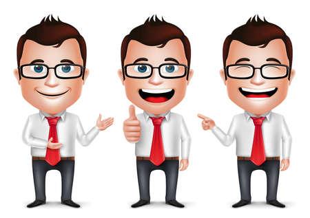 3 D 現実的な実業家漫画のキャラクター別のポーズと手のしぐさが着用しているロングスリーブは、白い背景に分離。ベクトル図のセットです。  イラスト・ベクター素材