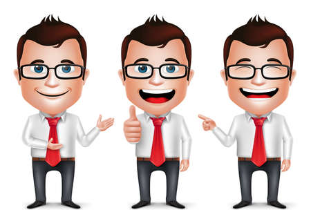 3D Realistic Businessman Cartoon Character with Different Pose and Hand Gesture Wearing Long Sleeve Isolated in White Background. Set of Vector Illustration. Vettoriali