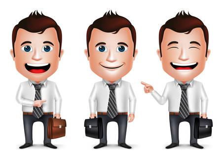 別の漫画のキャラクターを 3 D 現実的なビジネスマンは、ホワイト バック グラウンドで分離された旅行のためのブリーフケースを持ってポーズしま