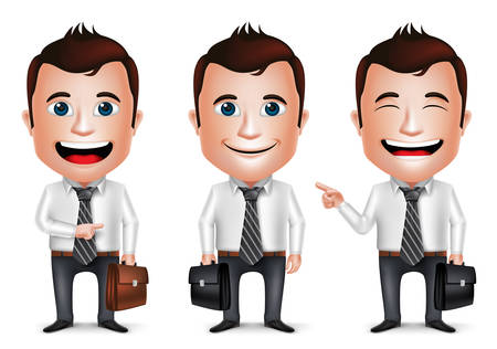 3D Realistic Businessman Cartoon Character with Different Pose Holding Briefcase for Traveling Isolated in White Background. Set of Vector Illustration. Ilustração
