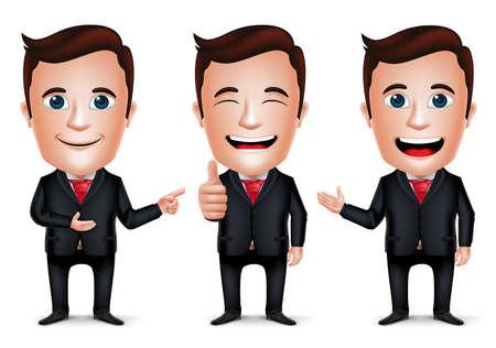 uomo rosso: 3D affari realistica personaggio dei cartoni animati con diversi Pose e gesto di mano indossa il vestito nero isolato in sfondo bianco. Set di illustrazione vettoriale.