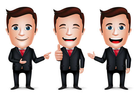 3D Realistic Businessman Cartoon Character with Different Pose and Hand Gesture Wearing Black Suit Isolated in White Background. Set of Vector Illustration.