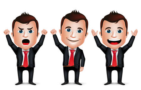 3D Realistic Businessman Cartoon Character with Different Pose and Raising Hands Up Wearing Black Suit Isolated in White Background. Set of Vector Illustration. Ilustracja
