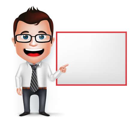3 D のリアルな実業家漫画のキャラクター ホワイト バック グラウンドで分離された空白のホワイト ボードを見せたり教えます。ベクトルの図。
