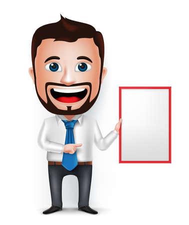 caras felices: 3D El hombre de negocios realista Enseñanza personaje de dibujos animados o Mostrando Tarjeta Blanca En Blanco Aislado en el fondo blanco. Ilustración del vector. Vectores