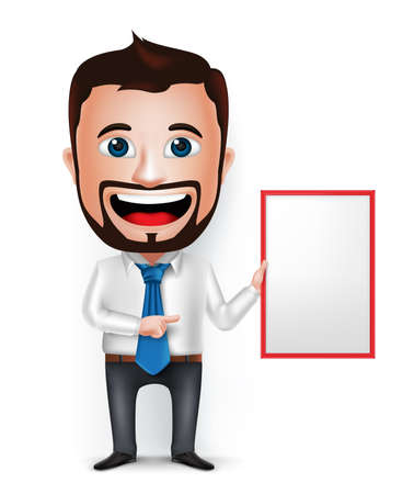 beard man: 3D Realistic Businessman Cartoon Character Teaching or Showing Blank White Board Isolated in White Background. Vector Illustration. Illustration