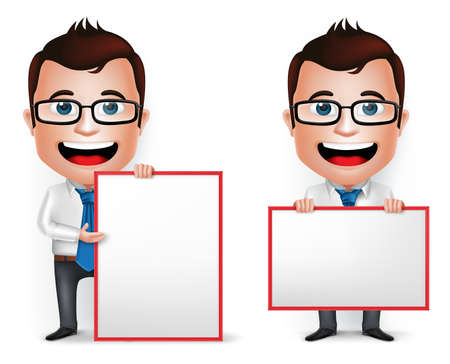 3 D 現実的な実業家漫画文字指導や白い背景で分離された空白のホワイト ボードを保持します。ベクトル図のセットです。