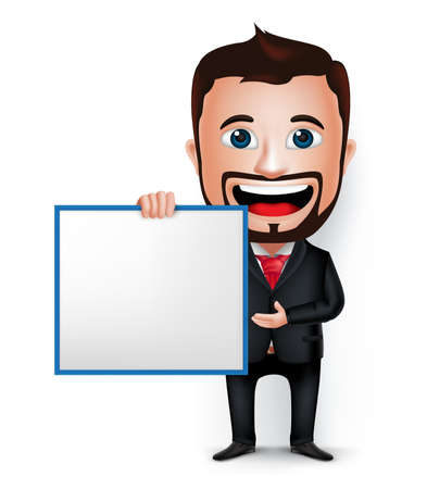 beard man: 3D Realistic Businessman Cartoon Character Holding and Showing Blank White Board Isolated in White Background. Vector Illustration. Illustration