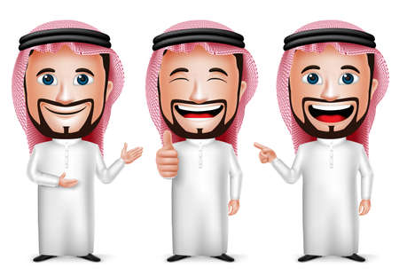 3D Realistic Saudi Arab Man Cartoon Character with Different Pose and Hand Gesture Wearing Thobe Isolated in White Background. Set of Vector Illustration. Vettoriali