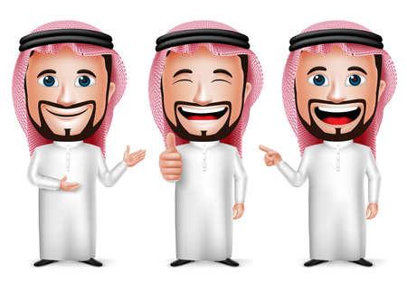 3D Realistische Saoedi-Arabische man stripfiguur met verschillende Pose en handgebaar dragen Thobe geïsoleerd in witte achtergrond. Set van vector illustratie. Stock Illustratie
