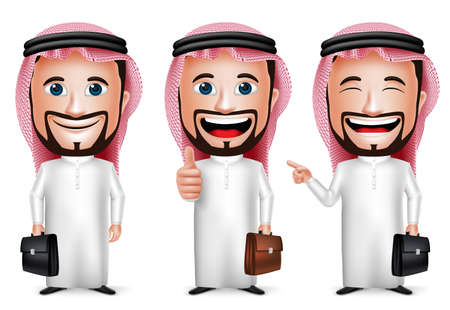 saudi: 3D Realistic Saudi Arab Man Cartoon Character with Different Pose Holding Briefcase Wearing Thobe Isolated in White Background. Set of Vector Illustration.